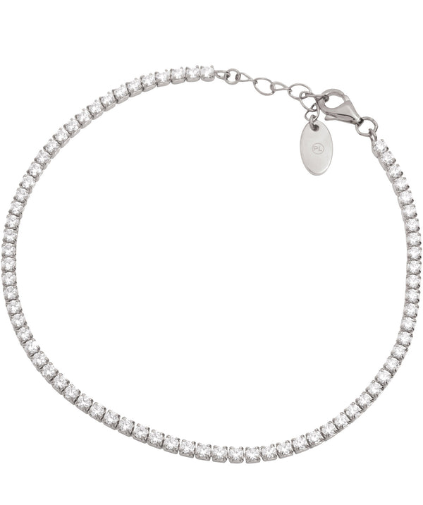 Gift Packaged 'Lotte' Rhodium Plated 925 Silver & Cubic Zirconia Bracelet
