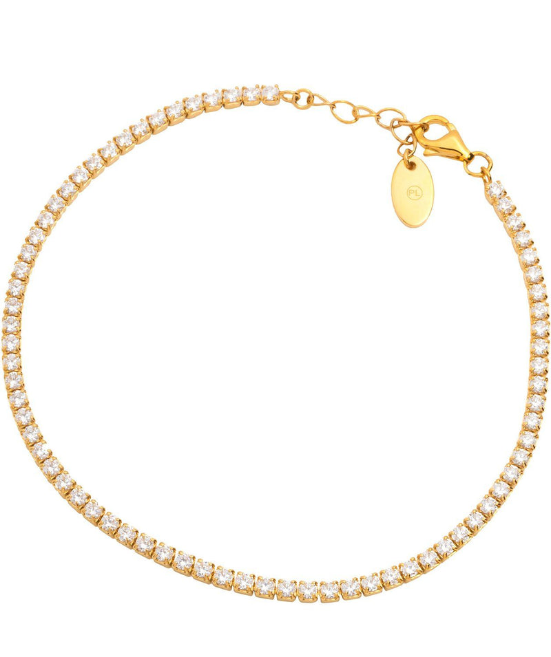 Gift Packaged 'Lotte' Yellow Gold Plated 925 Silver & Cubic Zirconia Bracelet