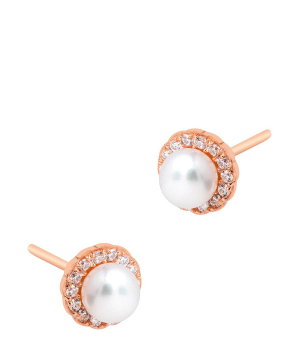 Gift Packaged 'Tara' 18ct Rose Gold Plated 925 Silver & Freshwater Pearl with Cubic Zirconia Halo Stud Earrings