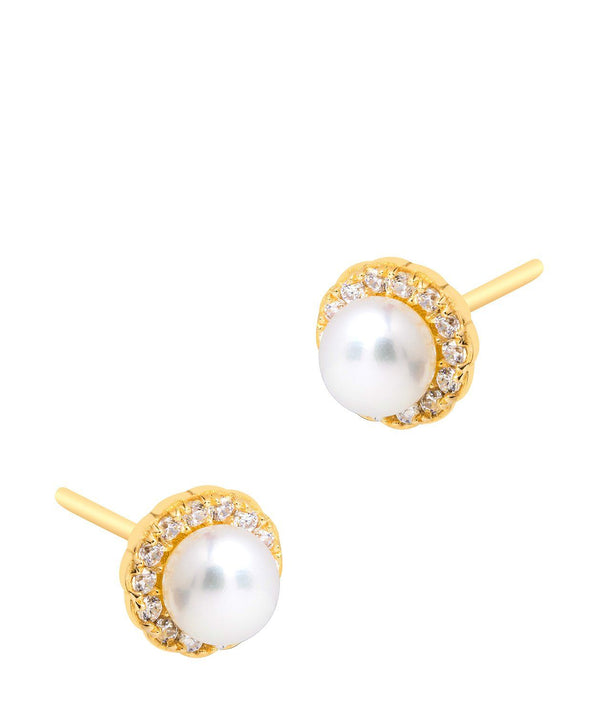 'Tara' 18ct Yellow Gold Plated 925 Silver and Freshwater Pearl with Cubic Zirconia Halo Stud Earrings Pure Luxuries London