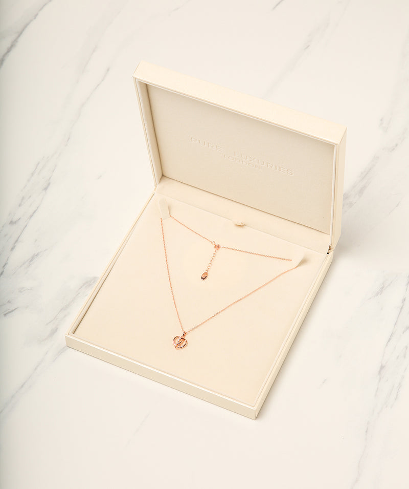 Gift Packaged 'Cirillo' 18ct Rose Gold Plated 925 Silver Woven Heart Necklace