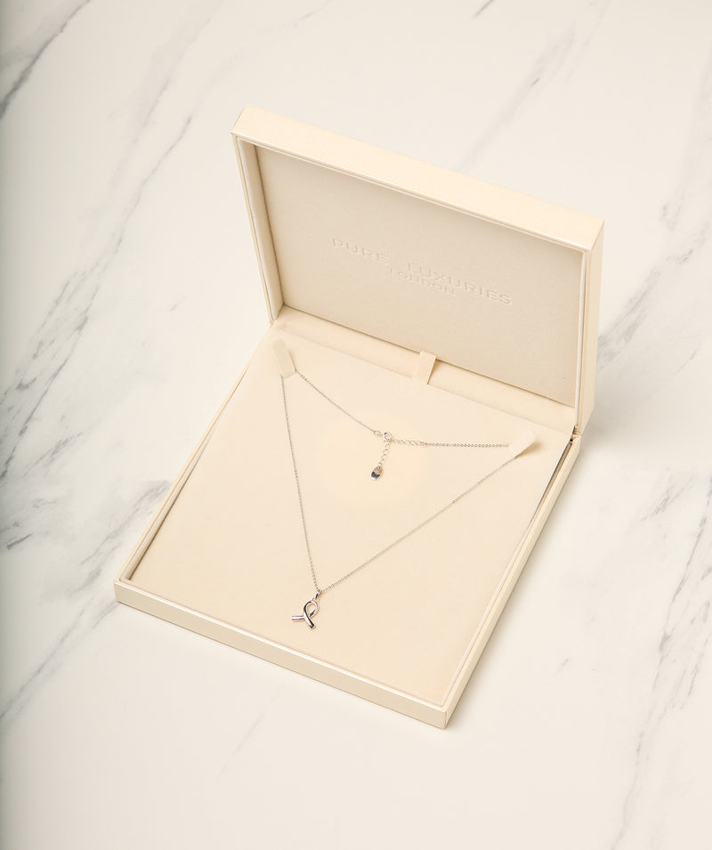 Gift Packaged 'Anson' 925 Silver Ribbon Design Necklace