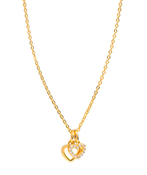 Gift Packaged 'Onasis' 18ct Yellow Gold Plated 925 Silver & Cubic Zirconia Double Heart Necklace