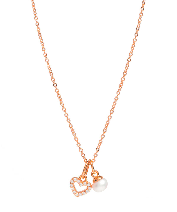 Gift Packaged 'Velez' 18ct Rose Gold Plated 925 Silver & Pearl Sparkle Heart Necklace