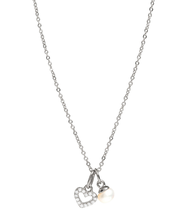 Gift Packaged 'Velez' 925 Silver & Pearl Sparkle Heart Necklace