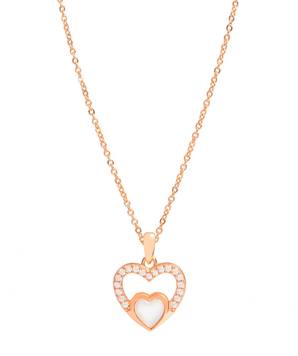 Gift Packaged 'Neves' 18ct Rose Gold Plated 925 Silver & Shell Pearl with Cubic Zirconia Heart Necklace