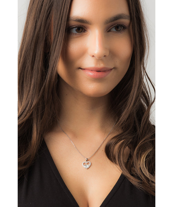 Gift Packaged 'Neves' 925 Silver & Shell Pearl with Cubic Zirconia Heart Necklace