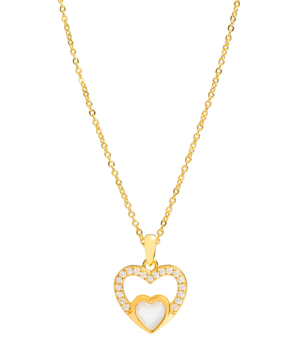 Gift Packaged 'Neves' 18ct Yellow Gold Plated 925 Silver & Shell Pearl with Cubic Zirconia Heart Necklace