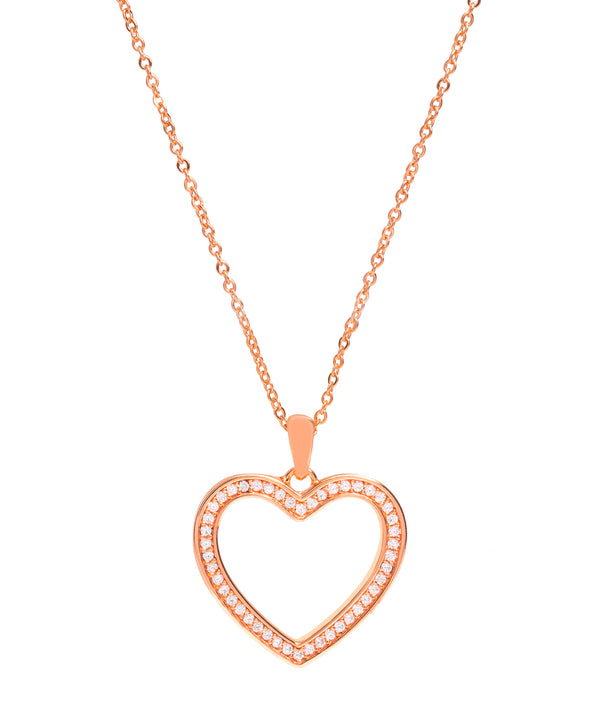 Gift Packaged 'Fontaine' 18ct Rose Gold Plated 925 Silver & Cubic Zirconia Heart Pendant Necklace