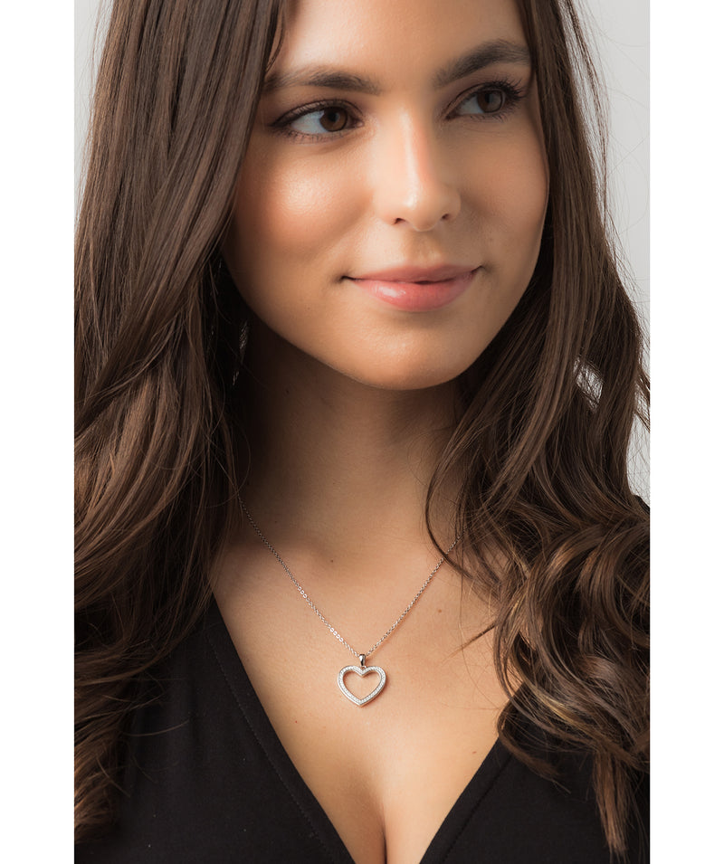 Gift Packaged 'Fontaine' Rhodium Plated 925 Silver & Cubic Zirconia Heart Pendant Necklace