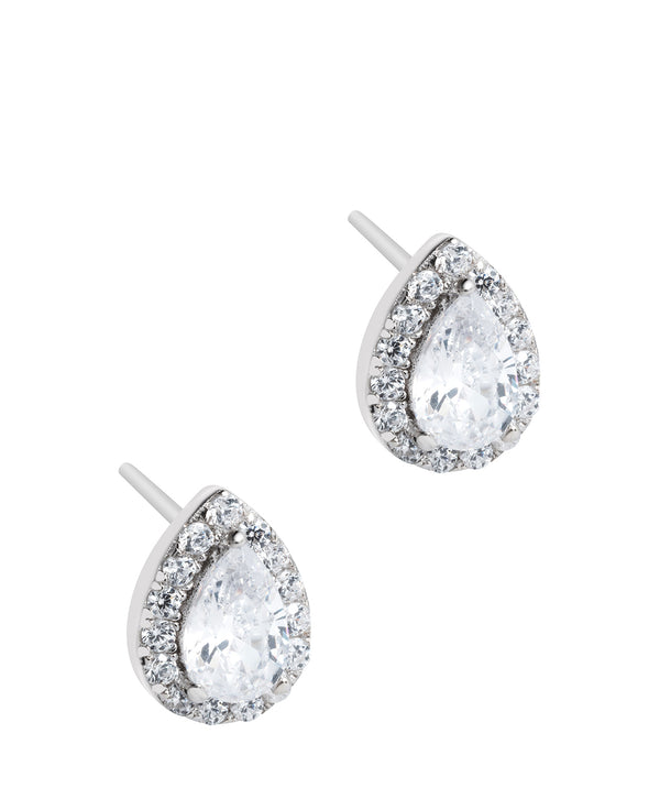 Gift Packaged 'Rocio' Rhodium Plated 925 Silver & Cubic Zirconia Teardrop Earrings