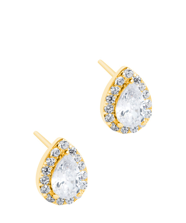 'Rocio' Yellow Gold Plated Sterling Silver and Cubic Zirconia Teardrop Earrings Pure Luxuries London