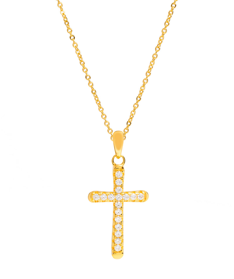 Gift Packaged 'Cordoba' 18ct Yellow Plated 925 Silver & Cubic Zirconia Cross Pendant Necklace