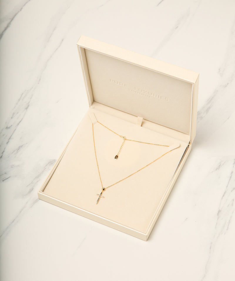 Gift Packaged 'Moraz' 18ct Yellow Gold Plated 925 Silver Cross Pendant Necklace