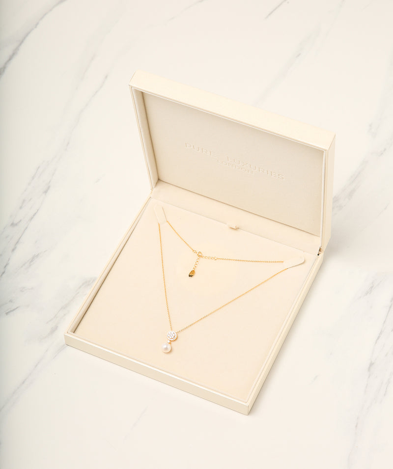 Gift Packaged 'Andress' 18ct Yellow Gold Plated 925 Silver & Cubic Ziconia Necklace