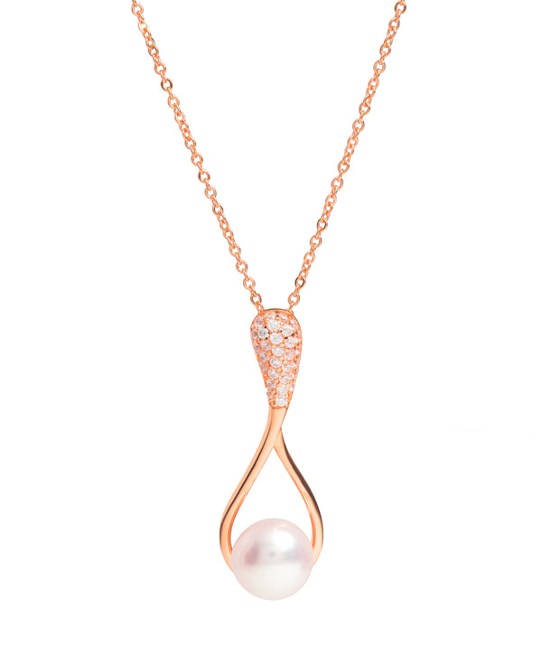 Gift Packaged 'Renou' 18ct Rose Gold Plated 925 Silver & Freshwater Pearl with Cubic Zirconia Necklace