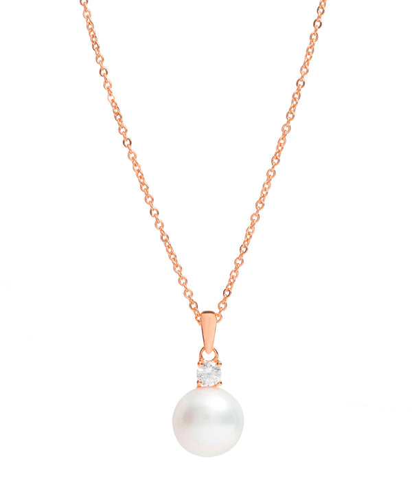 Gift Packaged 'Seville' 18ct Rose Gold Plated 925 Silver & Pearl Sparkle Necklace