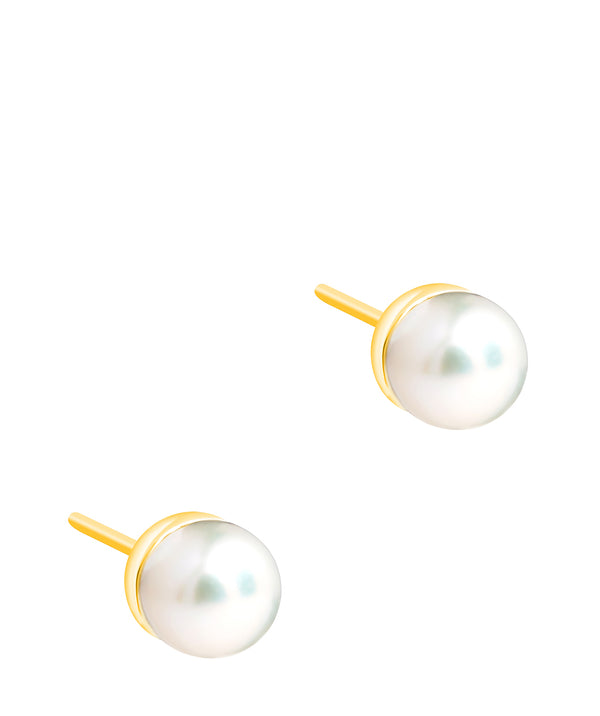 Gift Packaged 'Laval' 18ct Yellow Gold Plated 925 Silver & Freshwater Pearl Stud Earrings