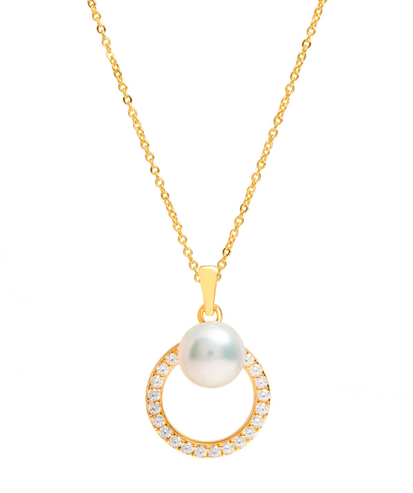 Gift Packaged 'Prados' 18ct Yellow Gold Plated 925 Silver Cubic Zirconia Circle & Freshwater Pearl Necklace