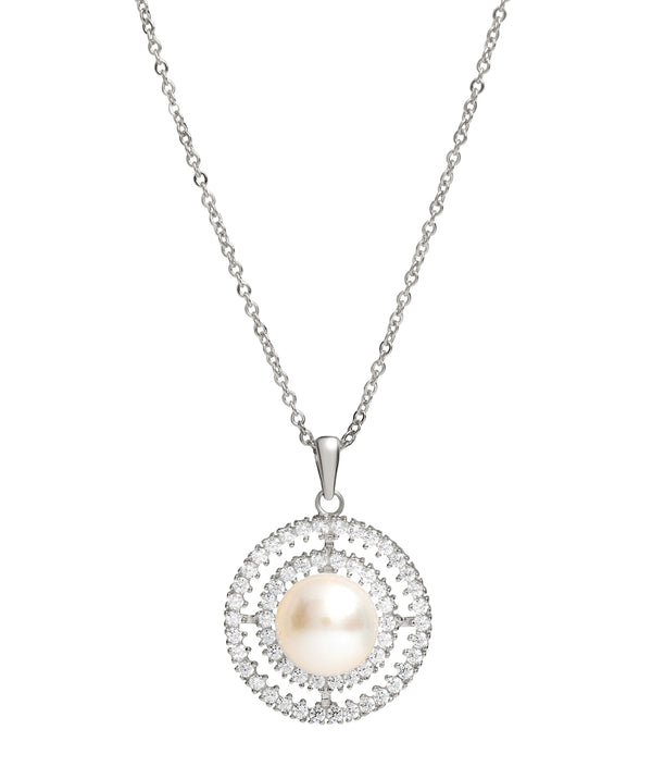 Gift Packaged 'Valverde' 925 Silver, Pearl & Cubic Zirconia Necklace