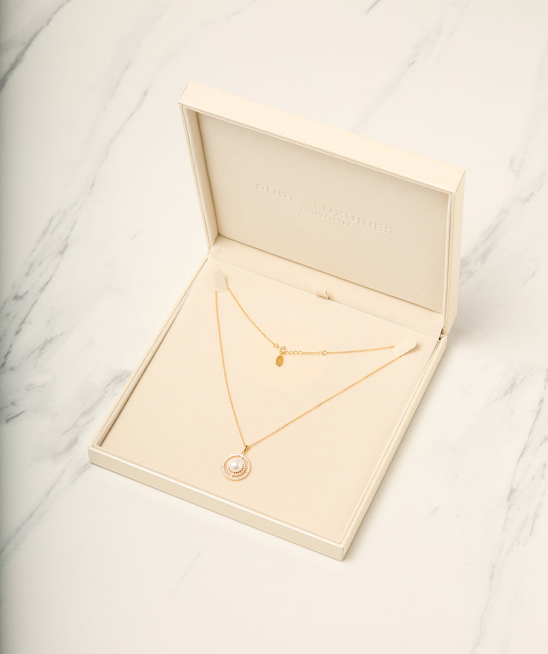 Gift Packaged 'Valverde' 18ct Yellow Gold Plated 925 Silver, Pearl & Cubic Zirconia Necklace