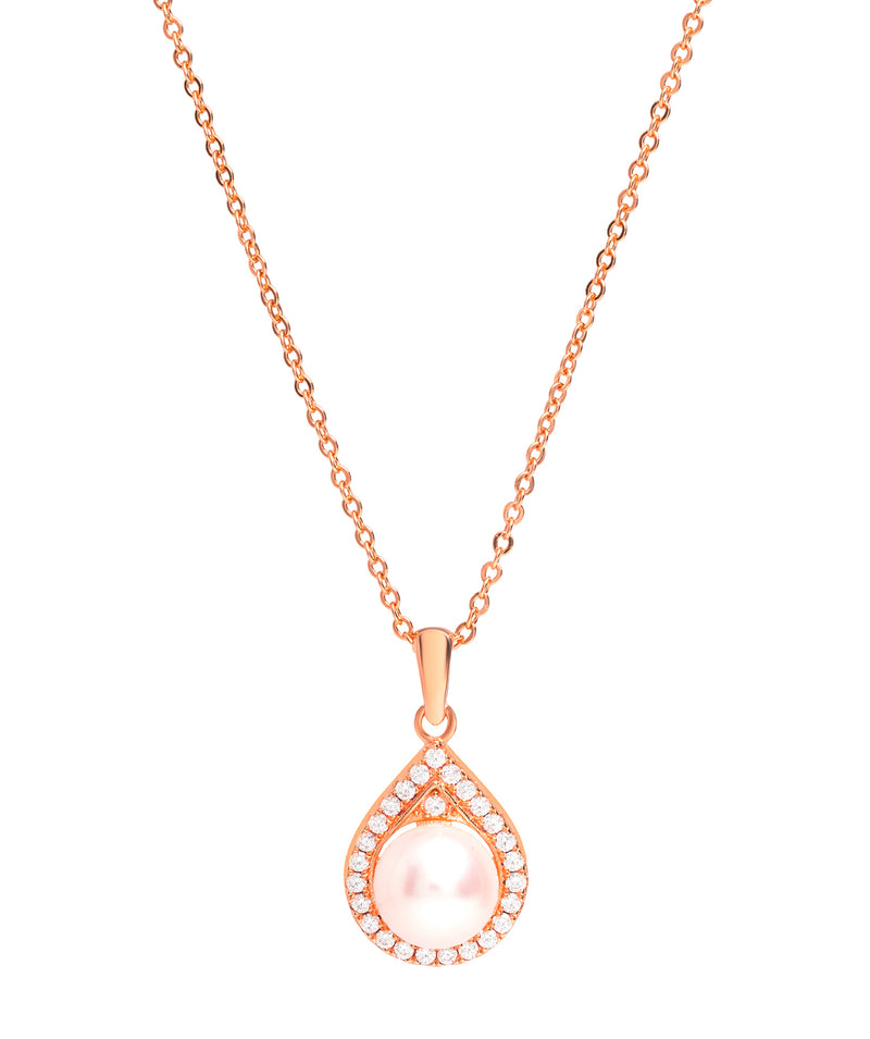 Gift Packaged 'Montserrat' 18ct Rose Gold Plated 925 Silver Cubic Zirconia & Pearl Teardrop Pendant Necklace