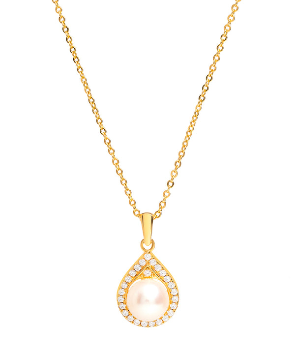 Gift Packaged 'Montserrat' 18ct Yellow Gold Plated 925 Silver Cubic Zirconia & Pearl Teardrop Pendant Necklace