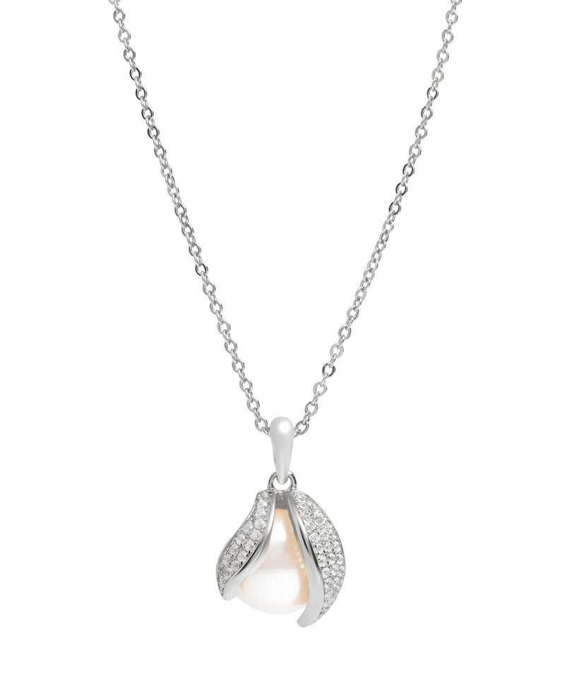 Gift Packaged 'Romero' Rhodium Plated 925 Silver Cubic Zirconia Swirl & Freshwater Pearl Pendant Necklace