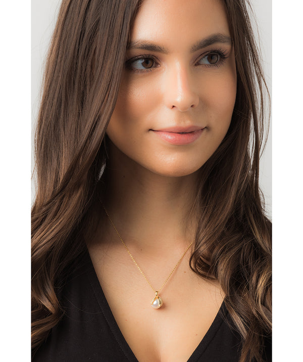 Gift Packaged 'Romero' 18ct Yellow Gold Plated 925 Silver Cubic Zirconia Swirl & Freshwater Pearl Pendant Necklace