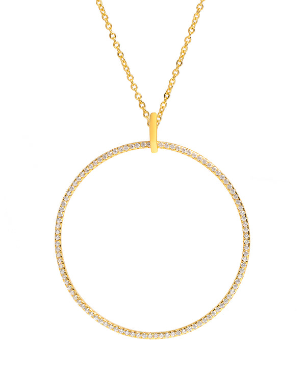 Gift Packaged 'Ollier' 18ct Yellow Gold Plated 925 Silver & Cubic Zirconia Large Open Circle Pendant Necklace