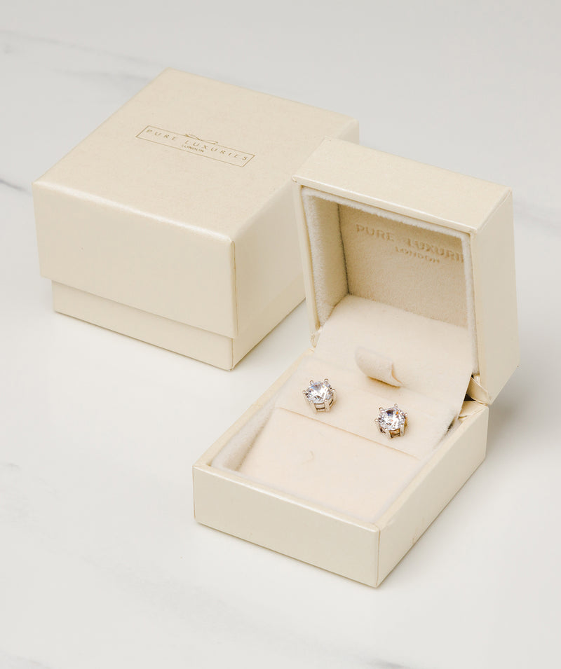 Gift Packaged 'Emiko' Rhodium 925 Silver and Cubic Zirconia Stud Earrings