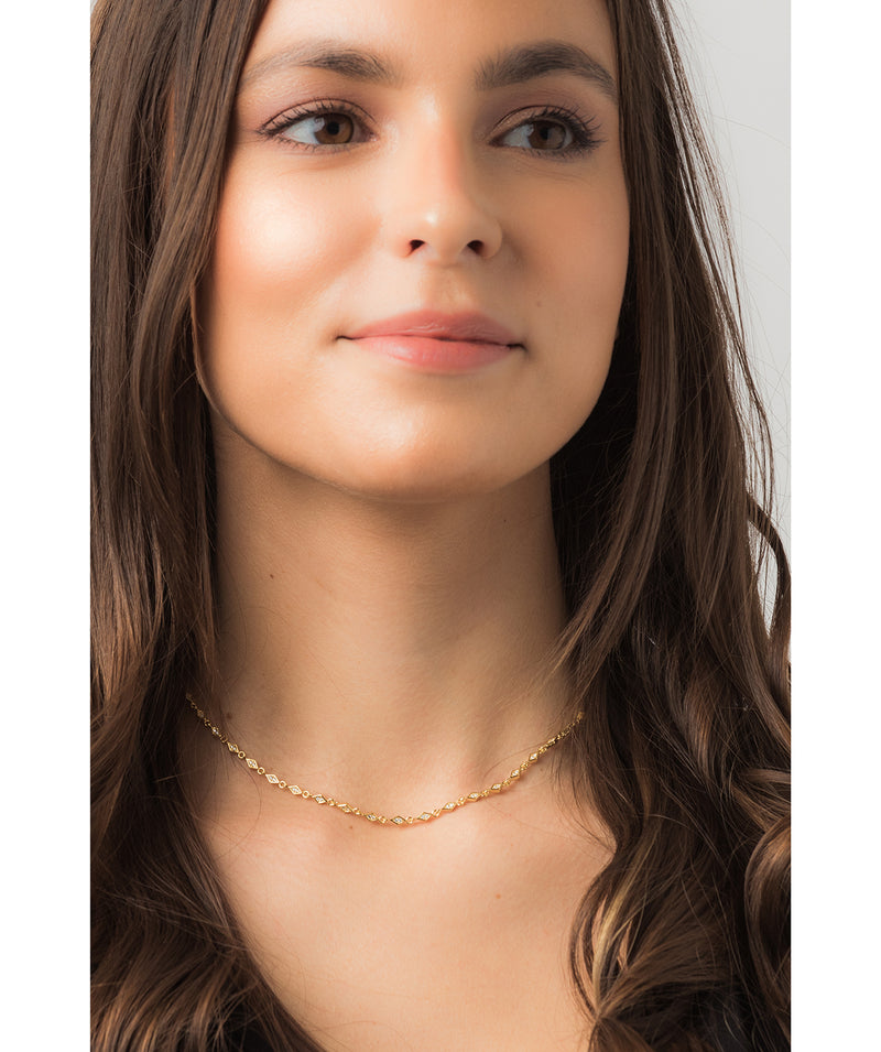 Gift Packaged 'Piccard' 18ct Yellow Gold Plated 925 Silver & Cubic Zirconia Necklace