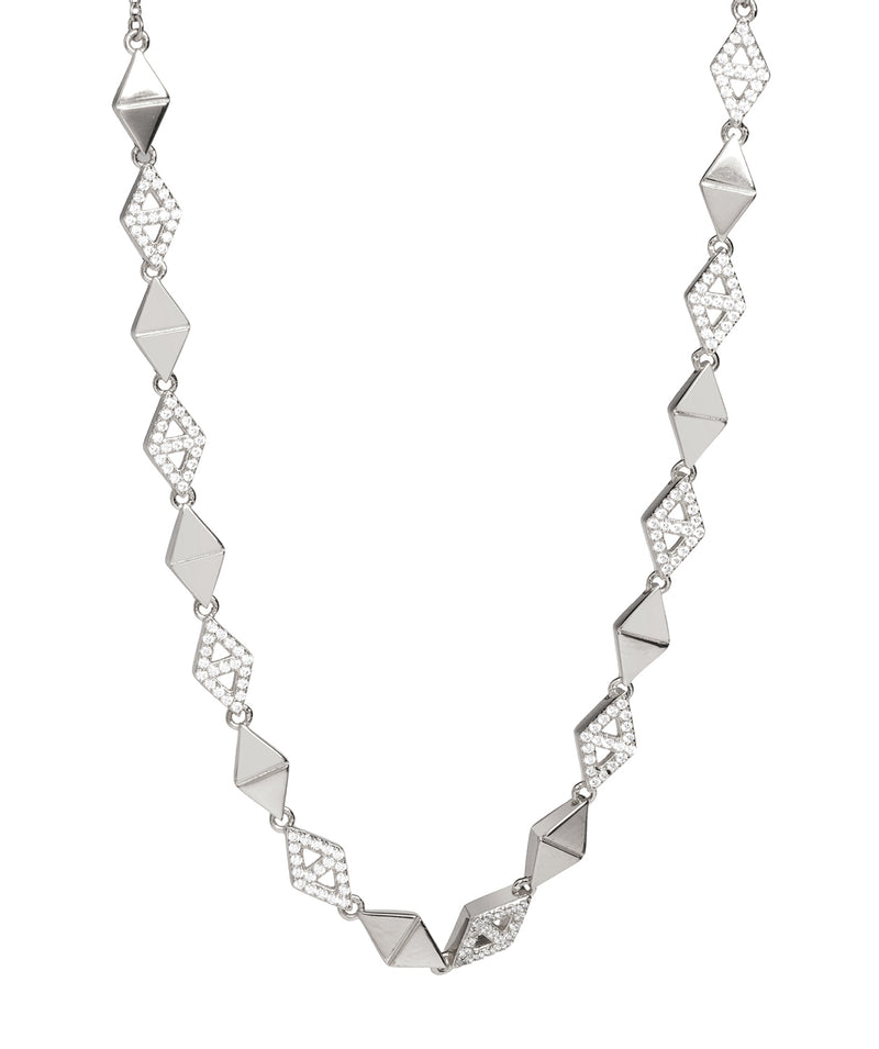 Gift Packaged 'Hingis' Rhodium Plated 925 Silver & Cubic Zirconia Necklace
