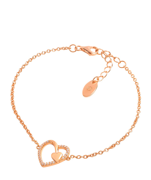 Gift Packaged 'Vasella' 18ct Rose Gold Plated & Cubic Zirconia Heart Bracelet