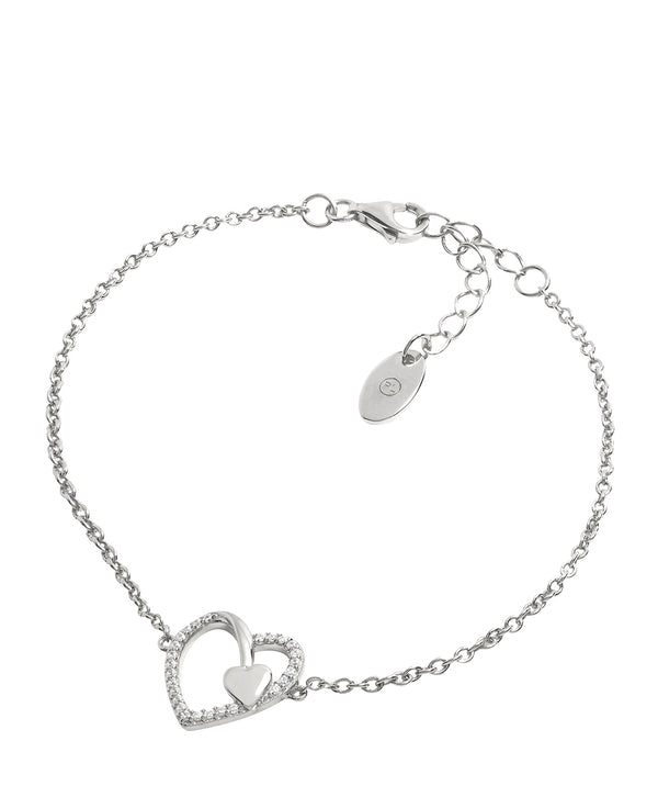 Gift Packaged 'Vasella' Rhodium Plated & Cubic Zirconia Heart Bracelet
