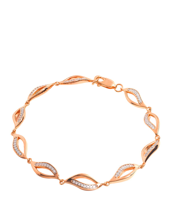 Gift Packaged 'Meyer' 18ct Rose Gold Plated 925 Silver and Cubic Zirconia Wave Bracelet