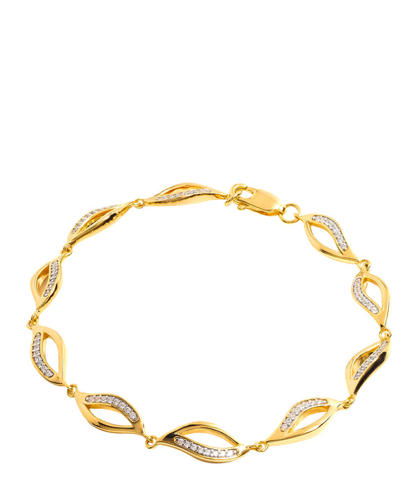 Gift Packaged 'Meyer' 18ct Yellow Gold Plated 925 Silver and Cubic Zirconia Wave Bracelet