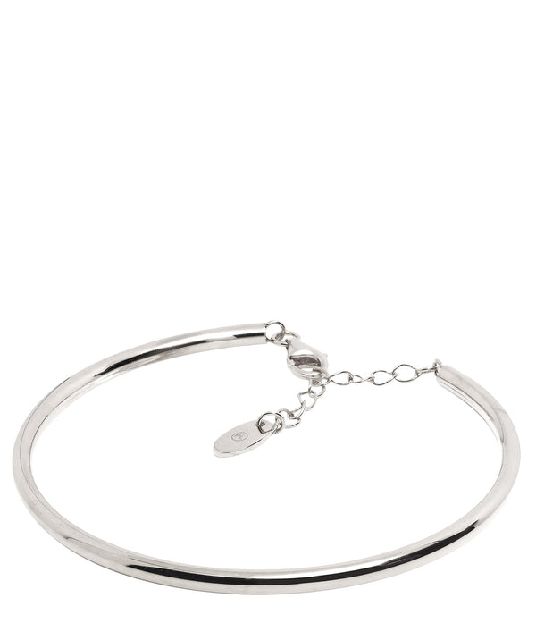 Gift Packaged 'Caspari' Rhodium Plated 925 Silver Minimalist Bangle