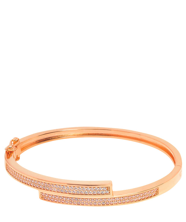 Gift Packaged 'Evard' 18ct Rose Gold Plated 925 Silver & Cubic Zirconia Bangle
