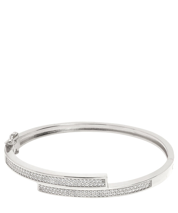 Gift Packaged 'Evard' Rhodium Plated 925 Silver & Cubic Zirconia Bangle