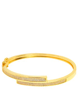 Gift Packaged 'Evard' 18ct Yellow Gold Plated 925 Silver & Cubic Zirconia Bangle