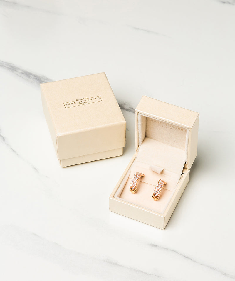 Gift Packaged 'Haller' 18ct Rose Gold Plated 925 Silver & Cubic Zirconia Semi Circle Hoop Stud Earrings