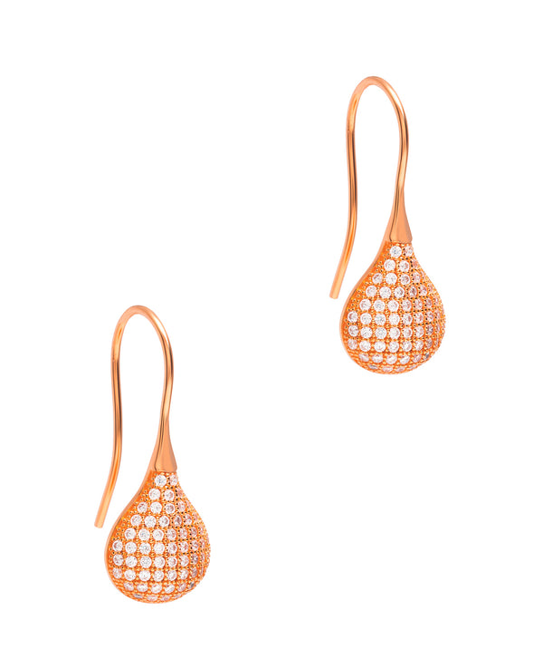 Gift Packaged 'Bouchard' 18ct Rose Gold Plated 925 Silver & Cubic Zirconia Droplet Earrings