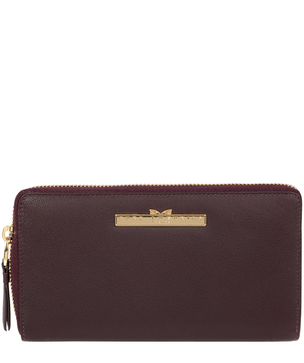 'Robin' Plum Leather Zip Round Purse image 1