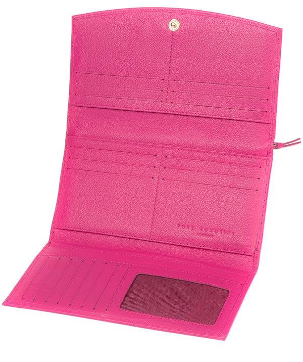 'Lark' Fuchsia Leather Tri-Fold Purse image 4