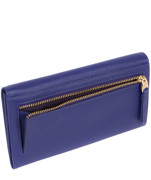 'Wren' Navy Leather Tri-Fold Purse Pure Luxuries London