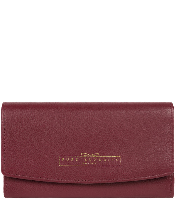 'Tulip' Plum Leather Tri-Fold Purse image 1