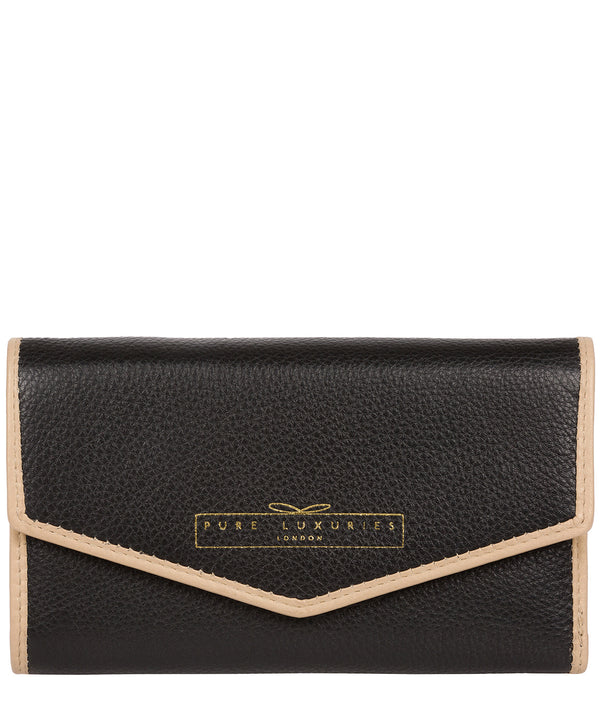 'Yew' Black & Champagne Leather Tri-Fold Purse image 1