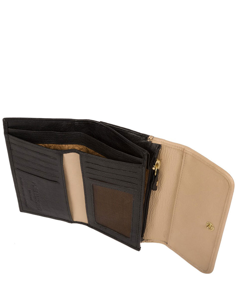 'Freesia' Black & Champagne Leather RFID Purse