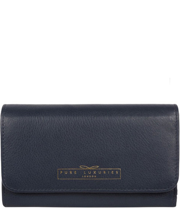 'Freesia' Midnight Navy Leather RFID Purse